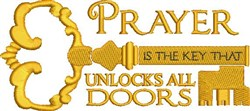Prayer Is Key embroidery design