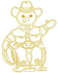 Cowboy Snowman embroidery design