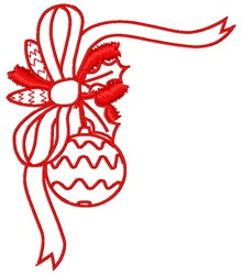 Christmas Bow Corner embroidery design