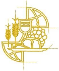 Wine and Bread embroidery design