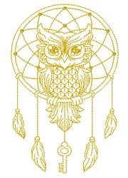 Dream Catcher Owl embroidery design