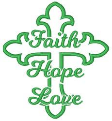 Faith Hope Love Cross embroidery design