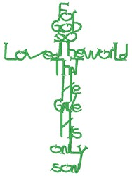 For God So Loved The World embroidery design