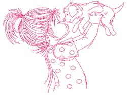 Girl And Puppy embroidery design
