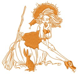 Pinup Witch embroidery design