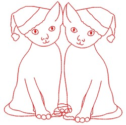 Christmas kittens embroidery design