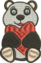 Valentine Panda embroidery design