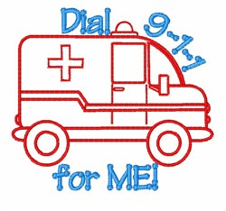 Dial 911 embroidery design