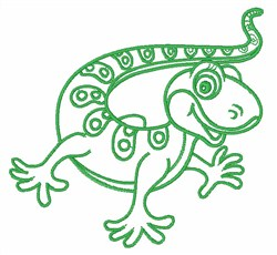 Gecko Outline embroidery design