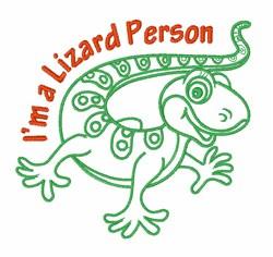 Lizzard Person embroidery design