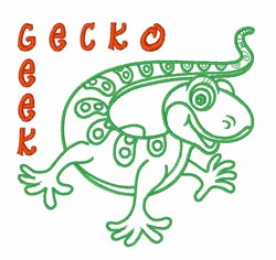 Gecko Geek embroidery design