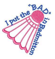 BAD in Badmitton embroidery design