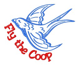 Fly the Coop embroidery design