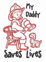 Daddy Saves Lives embroidery design