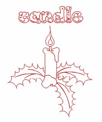 Redwork Candle embroidery design