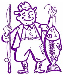 Fisherman Outline embroidery design