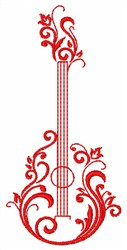 Guitar Flower embroidery design