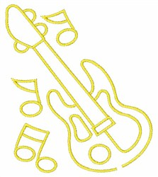 Guitar& Notes embroidery design