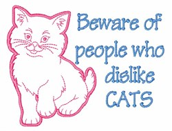 Dislike Cats embroidery design