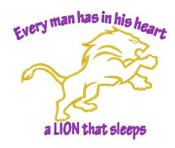 Lion Sleeps embroidery design