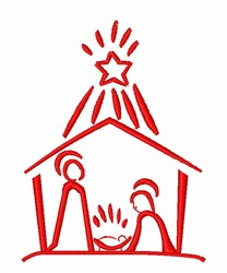 Nativity Scene Outline embroidery design