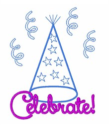 Celebrate Party Hat embroidery design