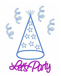 Lets Party Hat embroidery design