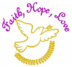 Faith Hope Love Dove embroidery design