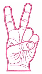 Victory Hand Sign embroidery design