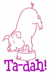 Pig Ta-dah! embroidery design