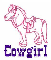 Pony Cowgirl embroidery design