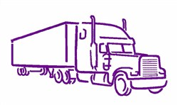 Big Rig Truck Outline embroidery design