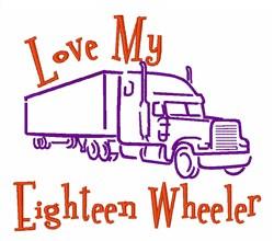Eighteen Wheeler embroidery design