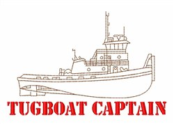 Tug Boat Captain embroidery design