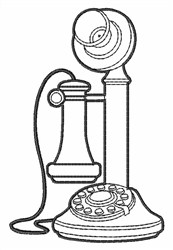 Candlestick Telephone Outline embroidery design