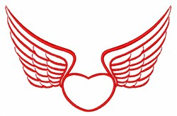 Heart Wings Outline embroidery design