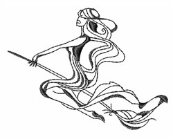 Witch Riding Broom Outline embroidery design