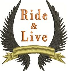Ride  Live embroidery design