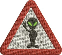 Warning Aliens embroidery design