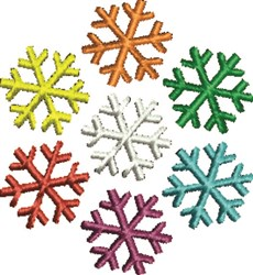 Colored Snowflakes embroidery design