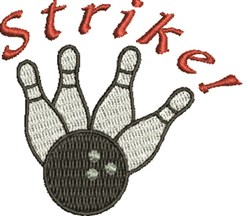 Bowling Strike! embroidery design