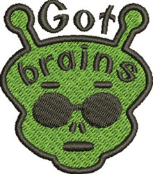 Alien Got Brains embroidery design