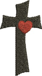 Heart On Cross embroidery design