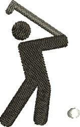 Golfer Silhouette embroidery design