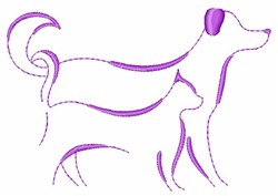 Dog And Cat Outline embroidery design