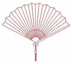 Hand Fan Outline embroidery design
