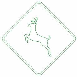 Deer Crossing Sign embroidery design