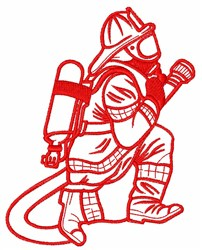 Firefighter Outline embroidery design