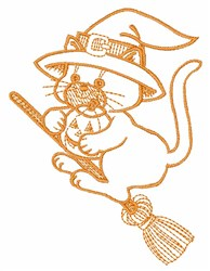 Cat On A Broom embroidery design