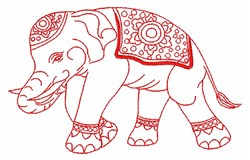 Indian Elephant Outline embroidery design